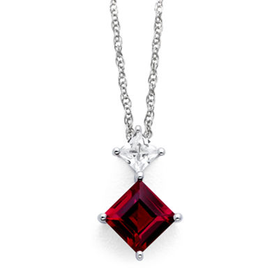 Fine Jewelry Lab-Created Ruby & White Sapphire Pendant Sterling Silver Necklace bGKY12Kl