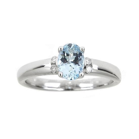 LIMITED QUANTITIES  Genuine Aquamarine and Diamond-Accent Ring