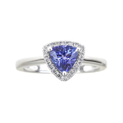 LIMITED QUANTITIES  Trillion-Cut Genuine Tanzanite and 1/10 CT. T.W. Diamond Ring
