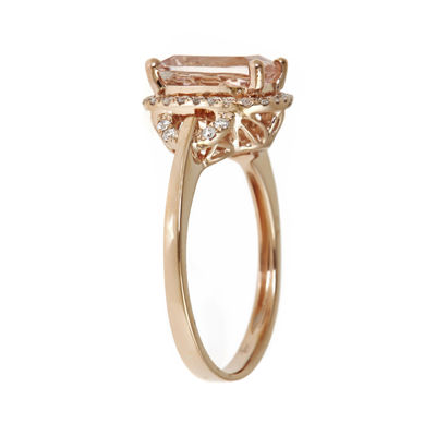 LIMITED QUANTITIES Cushion-Cut Genuine Morganite and 1/4 CT. T.W. Diamond Ring