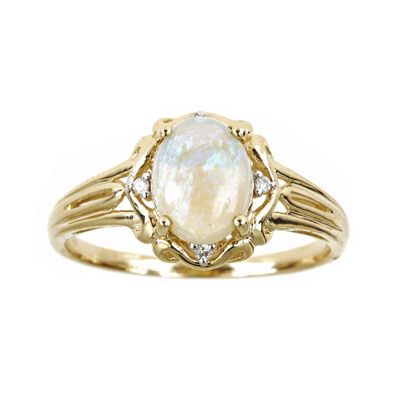 LIMITED QUANTITIES  10K Yellow Gold Oval Genuine Australian Opal and Diamond-Accent Ring