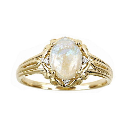 LIMITED QUANTITIES  14K Yellow Gold Oval Genuine Australian Opal and Diamond-Accent Ring