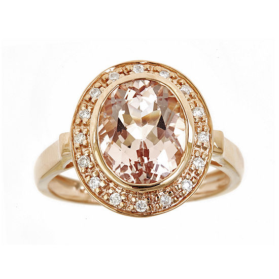LIMITED QUANTITIES Genuine Morganite and 1/10 CT. T.W. Diamond Ring