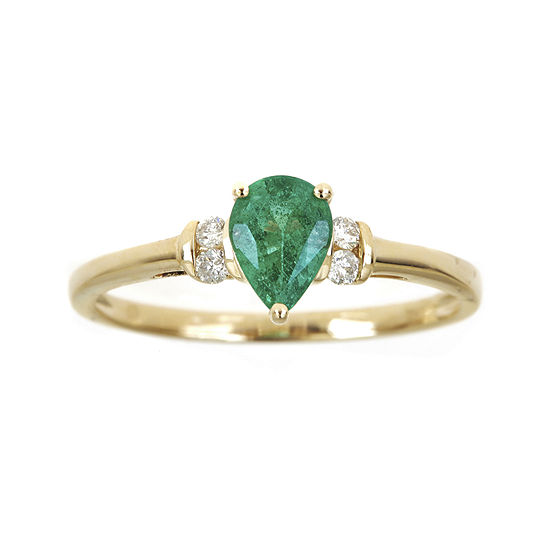 LIMITED QUANTITIES  Genuine Emerald and 1/10 CT. T.W. Diamond Ring