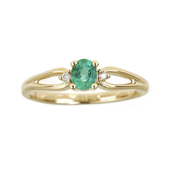 LIMITED QUANTITIES  Genuine Emerald and Diamond-Accent Ring