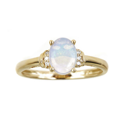 LIMITED QUANTITIES  Genuine Australian Opal and Diamond-Accent Ring