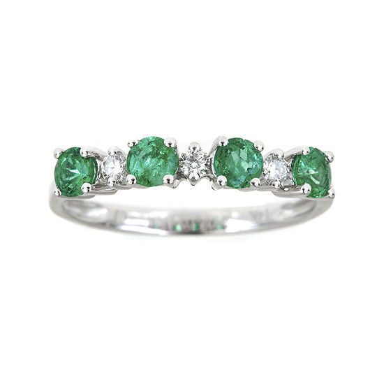Limited Quantities Genuine Emerald And 1 8 Ct Tw Diamond Band