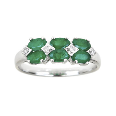 LIMITED QUANTITIES  Genuine Emerald and 1/8 CT. T.W. Diamond Band
