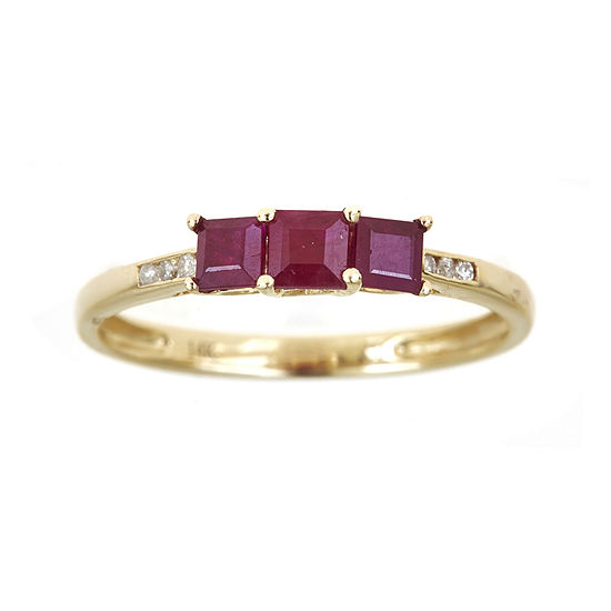 LIMITED QUANTITIES  Lead Glass-Filled Ruby and Diamond-Accent Band