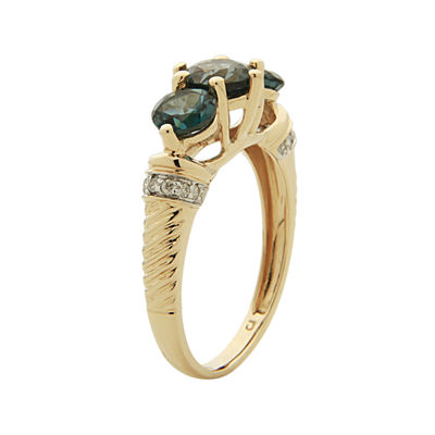 LIMITED QUANTITIES  Genuine London Blue Topaz and Diamond-Accent Ring