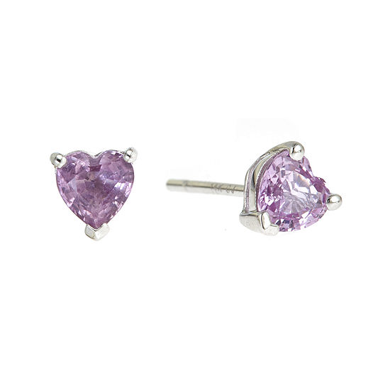 LIMITED QUANTITIES  Heart-Shaped Genuine Pink Sapphire Earrings