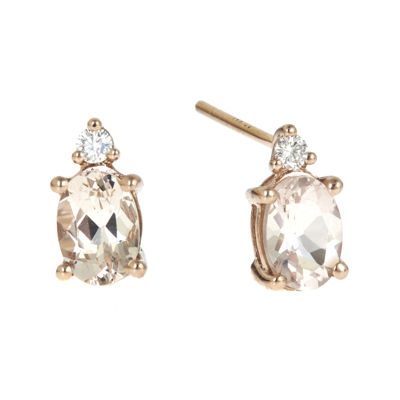 LIMITED QUANTITIES  Genuine Morganite and Diamond-Accent Earrings