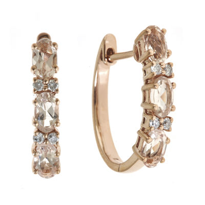 LIMITED QUANTITIES Genuine Morganite and 1/10 CT. T.W. Diamond Hoop Earrings