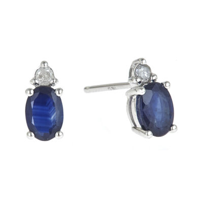 LIMITED QUANTITIES  Genuine Blue Sapphire and 1/10 CT. T.W. Diamond Earrings