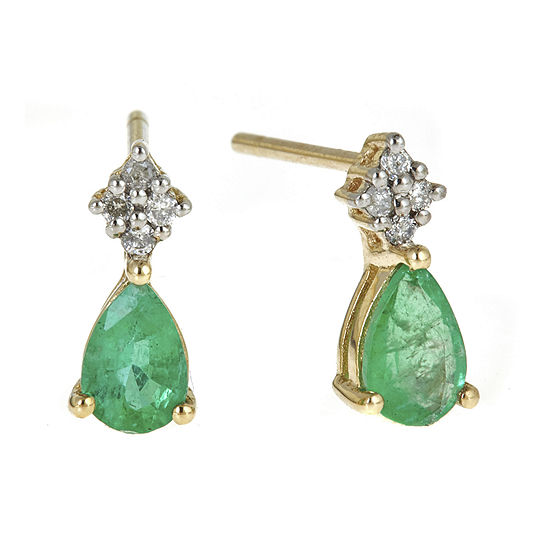 LIMITED QUANTITIES  Genuine Emerald and Diamond-Accent Drop Earrings