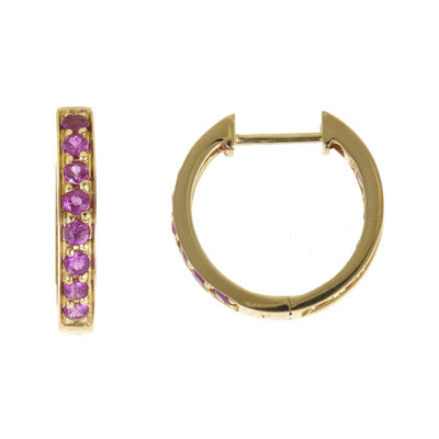 LIMITED QUANTITIES  Lead Glass-Filled Ruby Hoop Earrings