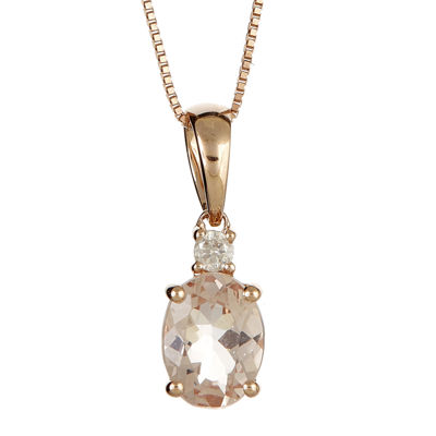 LIMITED QUANTITIES  Genuine Morganite and Diamond-Accent Pendant Necklace