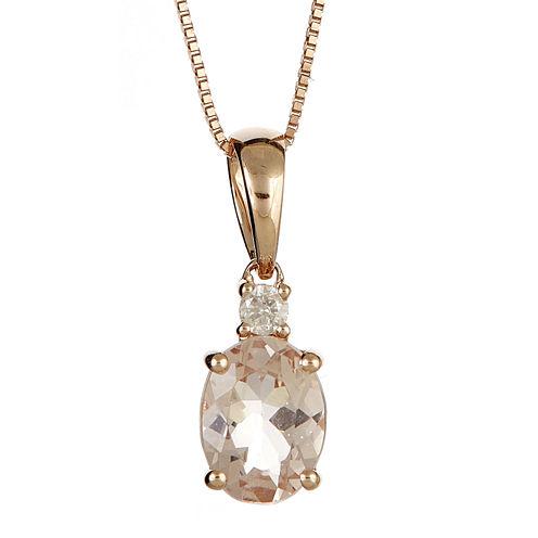 LIMITED QUANTITIES  Genuine Morganite and Diamond-Accent Pendant Necklace