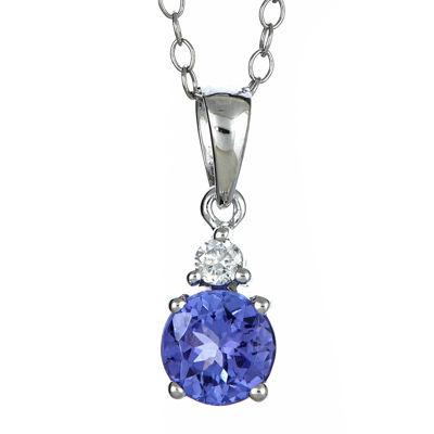LIMITED QUANTITIES  Genuine Tanzanite and Diamond-Accent Pendant Necklace
