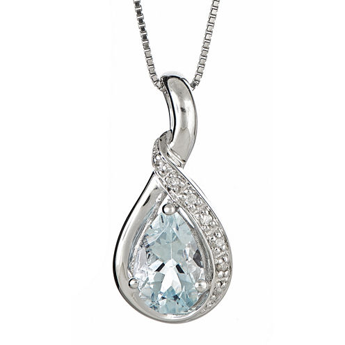 LIMITED QUANTITIES  Genuine Aquamarine and Diamond-Accent Pendant Necklace