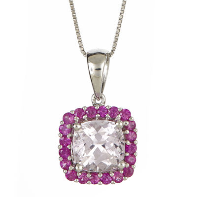 LIMITED QUANTITIES  Cushion-Cut Genuine Kunzite and Pink Sapphire Pendant Necklace