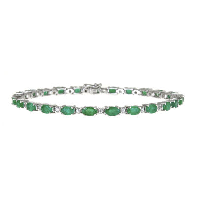 LIMITED QUANTITIES! Genuine Emerald and Lab-Created White Sapphire Tennis Bracelet