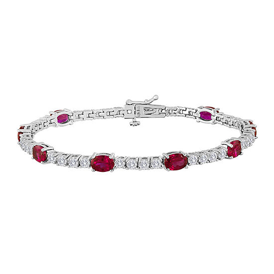 Oval Lab Created Ruby And Cubic Zirconia Tennis Bracelet