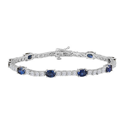 Womens Blue Sapphire Silver Over Brass Tennis Bracelet