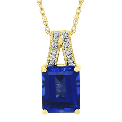 Lab-Created Blue and White Sapphire Split-Bail Pendant Necklace