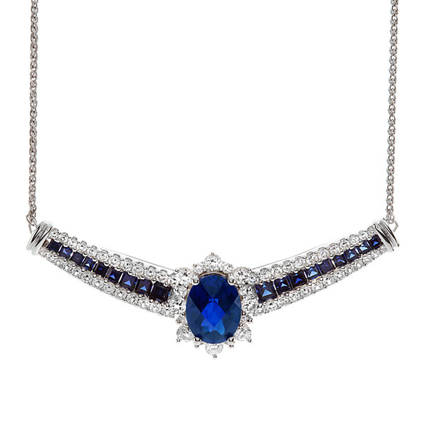 Lab-Created Blue and White Sapphire Yoke Sterling Silver Necklace