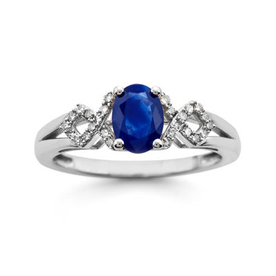 Lab-Created Blue Sapphire and Diamond-Accent 10K White Gold Ring