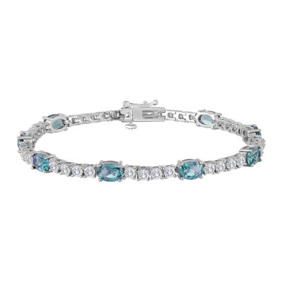 Sterling Silver over Brass Genuine Blue Topaz and Cubic Zirconia Tennis Bracelet