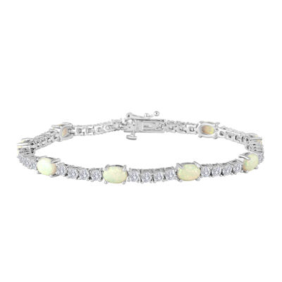 Sterling Silver Over Brass Lab-Created Opal and Cubic Zirconia Tennis Bracelet