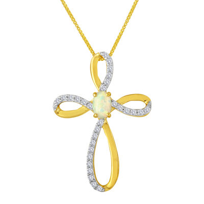 Lab-Created Opal and White Sapphire Cross Pendant Necklace