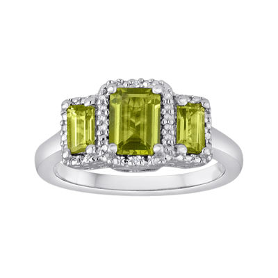 Genuine Peridot and Diamond-Accent Sterling Silver 3-Stone Ring