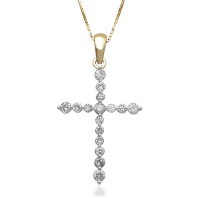 1/2 CT. T.W. Certified Diamond 14K Yellow Gold Cross Pendant Necklace