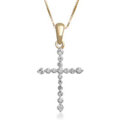 1/4 CT. T.W. Certified Diamond 14K Yellow Gold Cross Pendant Necklace