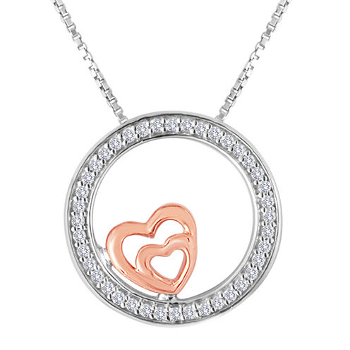 ForeverMine® 1/10 CT. T.W. Diamond Two-Tone Circle Double-Heart Pendant Necklace