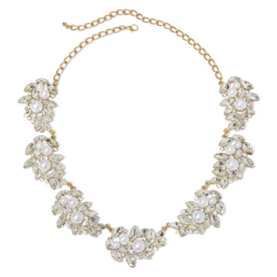 Natasha Simulated Pearl and Crystal Pendant Necklace