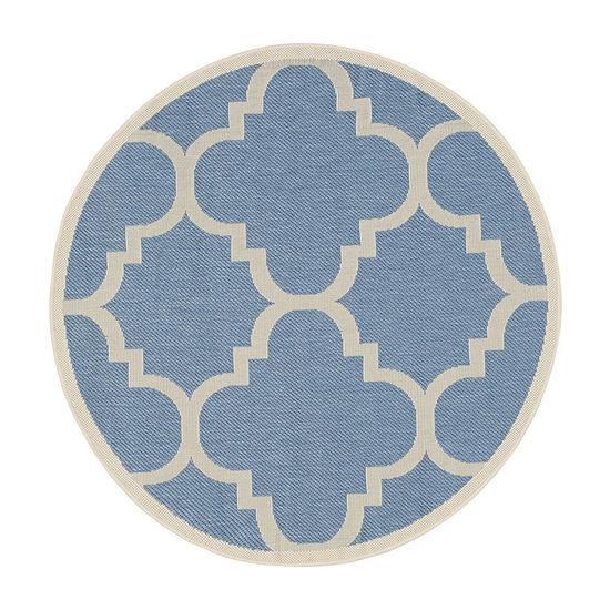 Safavieh Courtyard Collection Gina Geometric Indoor/Outdoor Round Area Rug