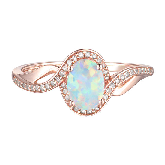 Womens Lab Created White Opal 10K Rose Gold Cocktail Ring