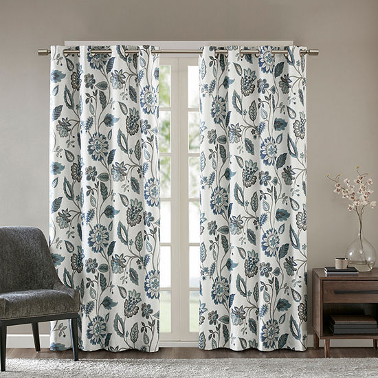 Sunsmart Laurel Floral Energy Saving Room Darkening Grommet-Top Curtain Panel
