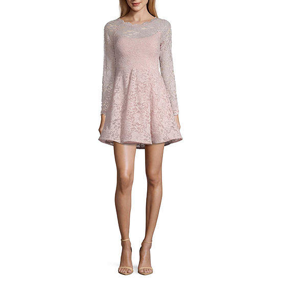 My Michelle Homecoming Long Sleeve Party Dress-Juniors