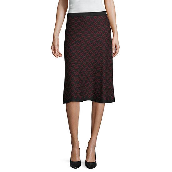 Liz Claiborne Studio Womens Midi A-Line Skirt