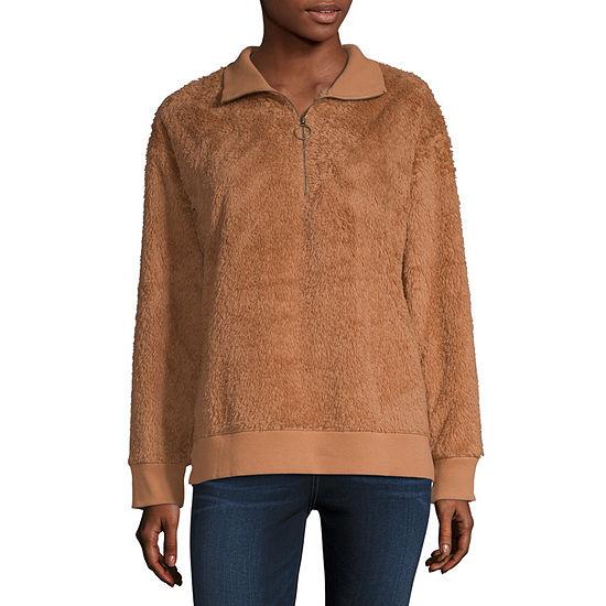 a.n.a Womens Round Neck Long Sleeve Sweatshirt