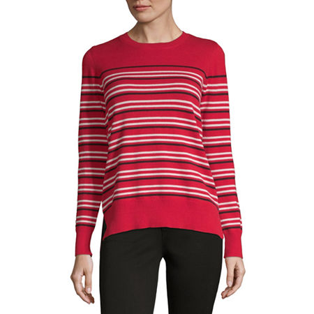 Liz Claiborne Womens Crew Neck Long Sleeve Striped Pullover Sweater, X-small , Red