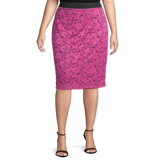 Bold Elements Womens Midi Lace Pencil Skirt - Plus