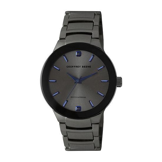 Geoffrey Beene Geunine Blue Sapphire Accent Mens Gray Bracelet Watch - Gb8188gu