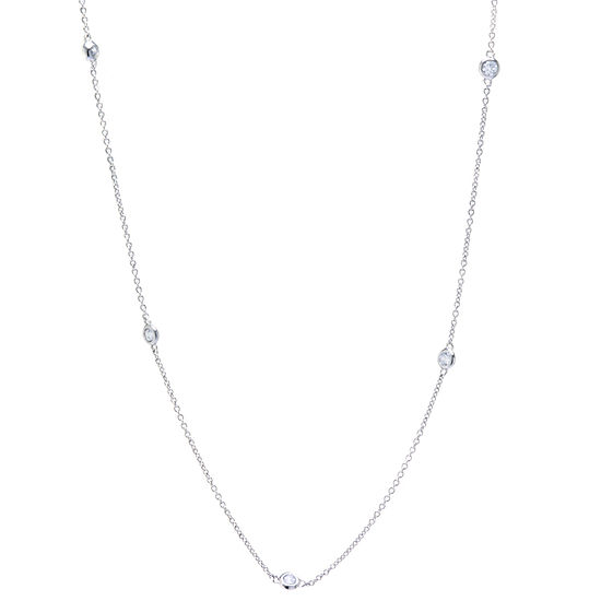Silver Reflections Cubic Zirconia Pure Silver Over Brass 30 Inch Cable Chain Necklace