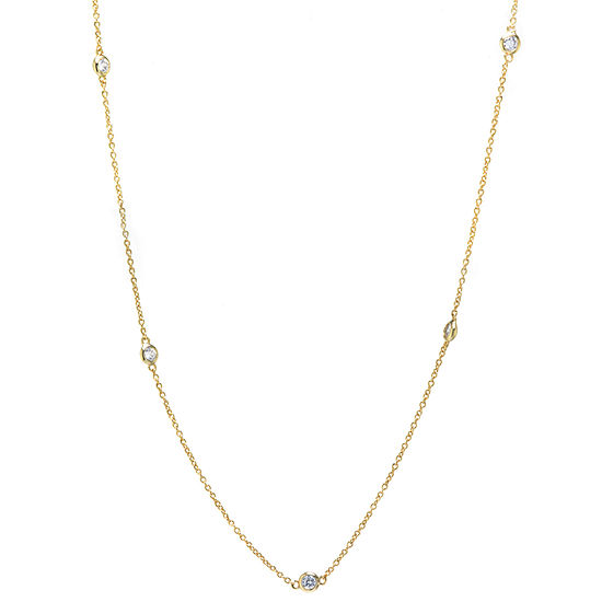 Silver Reflections 24K Gold Over Brass 18 Inch Solid Cable Chain Necklace